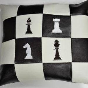 Подушка из экокожи «Шахматная доска»